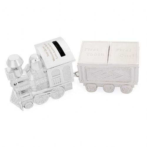 Personalised Train Money Box with Tooth & Curl Trinket